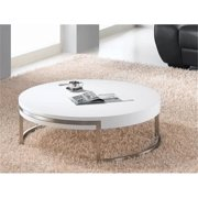 Whiteline CT1103-WHT Ross Coffee Table High Gloss White Nickel Brushed Frame