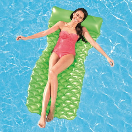 Bestway Vinyl N Roll Air Mat Pool Float, Green (Best Way To Paint Cabinets Spray Or Roll)
