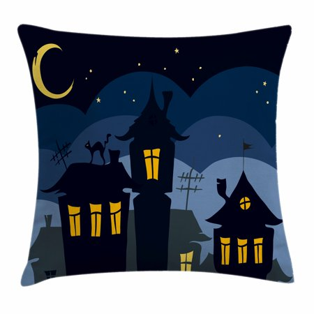 Halloween Throw Pillow Cushion Cover, Old Town with Cat on the Roof Night Sky Moon and Stars Houses Cartoon Art, Decorative Square Accent Pillow Case, 18 X 18 Inches, Black Yellow Blue, by Ambesonne](Halloween Cartoon Artwork)