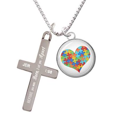 Silvertone Domed Puzzle Piece Heart - I Set You Apart - Cross Necklace (Puzzle Piece Necklace Set)