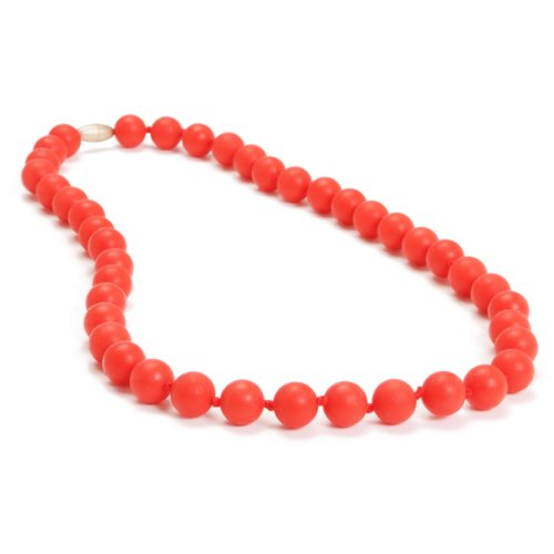 Chewbeads Jane Teething Necklace, 100% Safe Silicone - Cherry Red