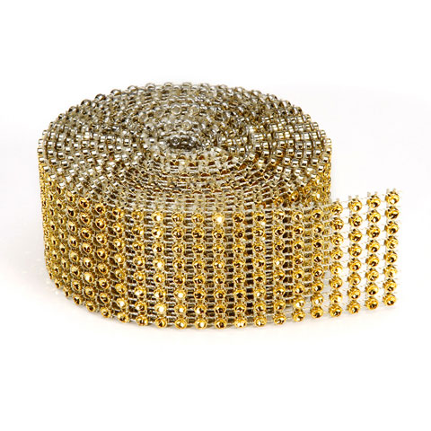 Bling 8Line Mesh Ribbon Gold 3mmx2Yd Packaged