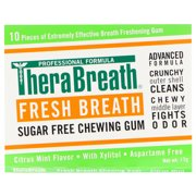 TheraBreath  Fresh Breath  Sugar Free Chewing Gum  Citrus Mint Flavor  6 Pack  10 Pieces Each