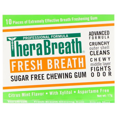 TheraBreath  Fresh Breath  Sugar Free Chewing Gum  Citrus Mint Flavor  6 Pack  10 Pieces