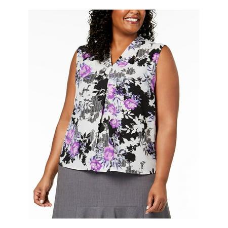 NINE WEST Womens Gray Floral Purple Black Sleeveless V Neck Blouse Top Plus  Size: 1X Sleeveless Womens Top