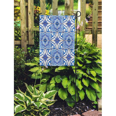 JSDART Gorgeous Patchwork Pattern from Dark Blue and White Moroccan Portuguese Tiles Azulejo Ornaments Fills Garden Flag Decorative Flag House Banner 12x18 inch - image 1 of 2