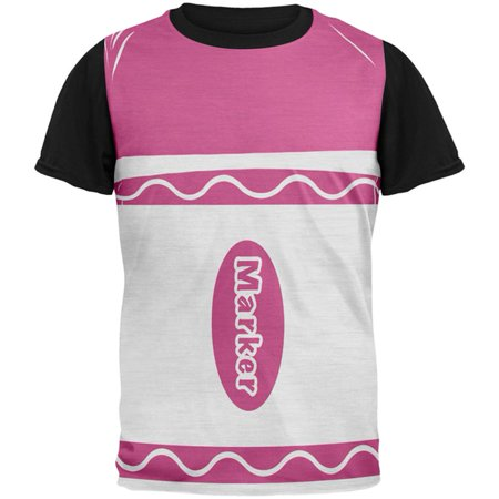Halloween Marker Costume Pink All Over Mens Black Back T Shirt (Pink And Black Halloween Costumes)