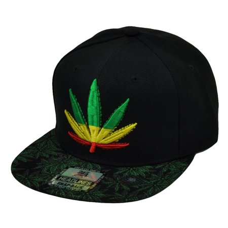 233aedff4cd Marijuana Weed Leaf Ganja Rasta Flat Bill Snapback Hat Cap Cannabis High  420 - Walmart.com