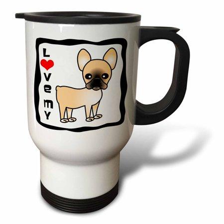 3dRose I Love My French Bulldog Black Masked Fawn Cream, Travel Mug, 14oz,  Stainless Steel