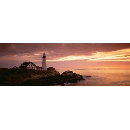 Portland Head Lighthouse Cape Elizabeth Maine USA Stretched Canvas - Panoramic Images (36 x 12)