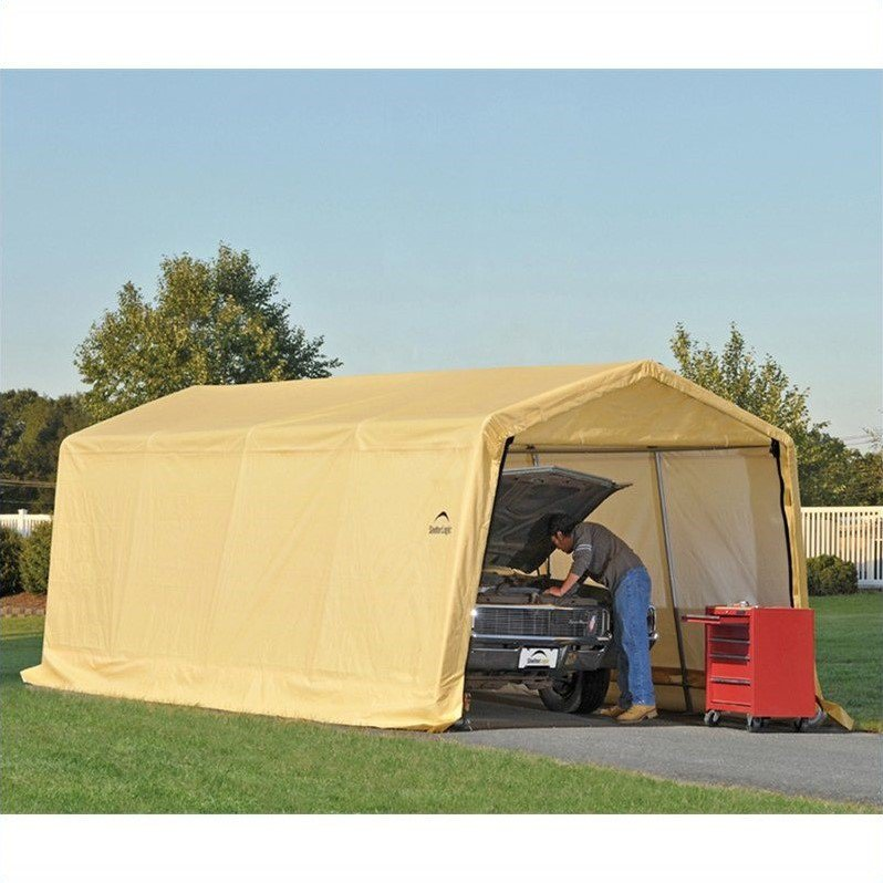 Portable Auto Storage Shelter Tan Car Canopy 10 ft x 20 ft Vehicle Garage Tent  sc 1 st  eBay & Portable Auto Storage Shelter Tan Car Canopy 10 ft x 20 ft Vehicle ...