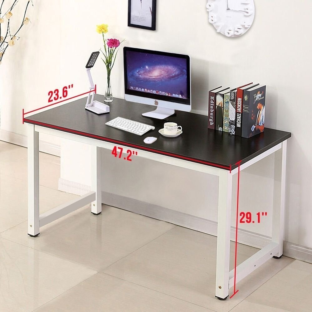 Computer Desk Wood Black PC Laptop Table Workstation Study Home Office Furniture