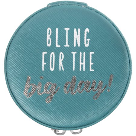 Pavilion - Bling For The Big Day! - Teal 3.5 Inch Zippered Travel Jewelry