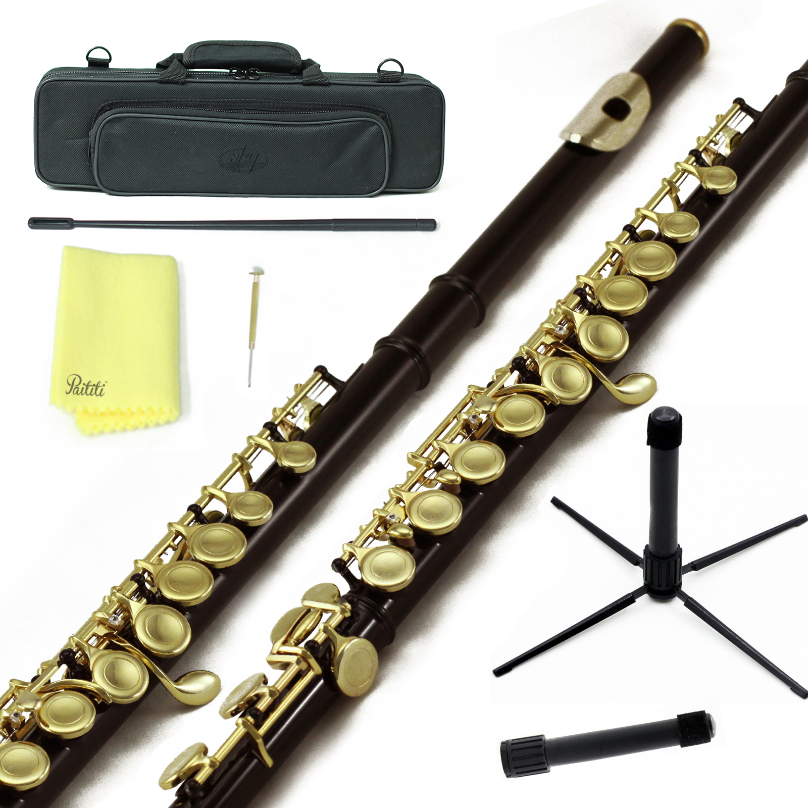 Sky Closed Hole C Flute with Lightweight Case, Cleaning Rod, Cloth, Joint Grease and Screw Driver - Black Gold