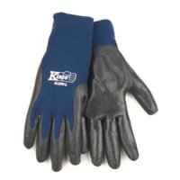 Work Gloves, Navy Blue Nylon Shell, Gray Smooth Finish Nitrile Coated Palm and Fingers, Extra Large