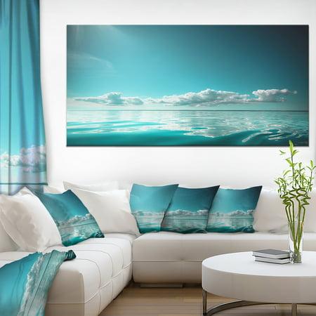 Blue Sea Horizon and Skyscraper - Large Seashore Canvas Art Print - image 3 of 3