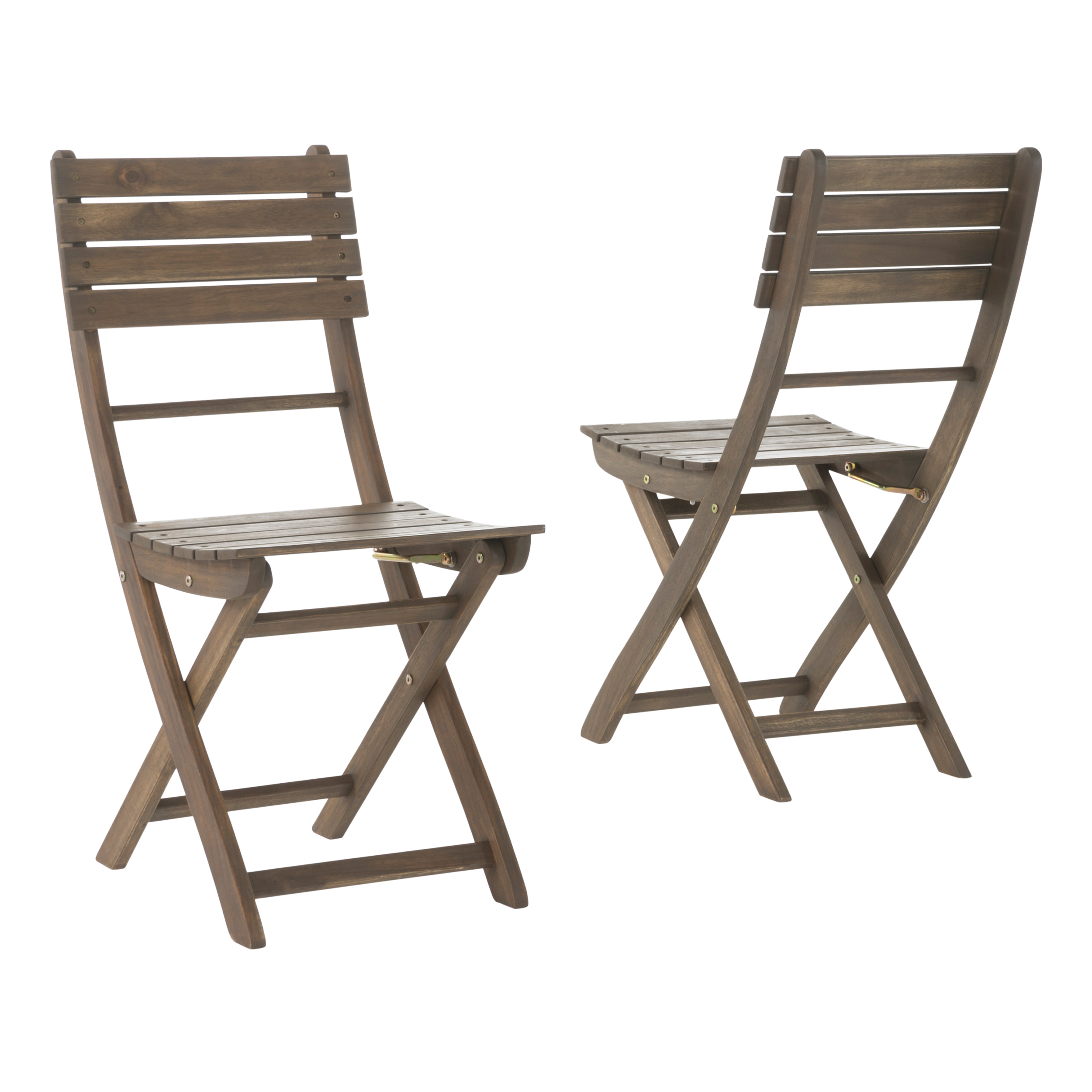 Etonnant Vicaro Outdoor Acacia Wood Foldable Dining Chairs, Set Of 2, Grey Finish