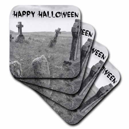 3dRose happy Halloween black letters on picture of scary tombstones, Ceramic Tile Coasters, set of 4