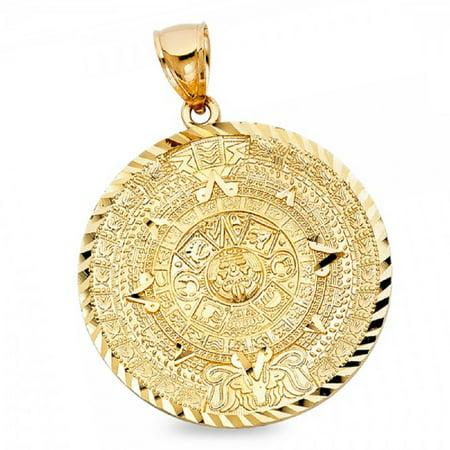 077 Kovacs Pendant - Calendario Azteca Pendant Solid 14k Yellow Gold Mayan Sun Calendar Pewtar Exotic Charm 40 x 40 mm