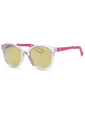 Hawaiian Island Creations Retro Fashion Rendy Style Kids Polarized Polycarbonate Sunglasses - Transparent Frame Pink Arms / Flash Lenses