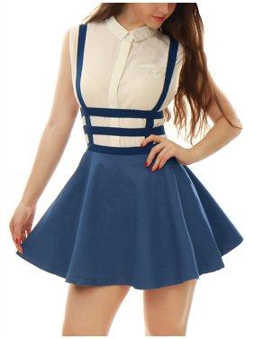 Women's Sleeveless Elastic Waist A Line Mini Suspender Skirt Dress Light Blue XS (US 2)