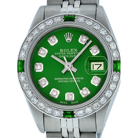 Pre-Owned Rolex Ladies Datejust Steel & 18K White Gold Green Diamond & Emerald Watch Jubilee - Pkg Emerald Green
