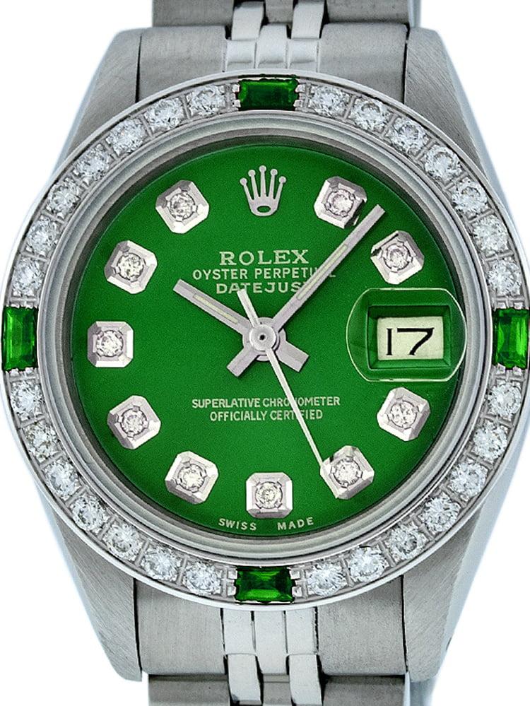 Pre-Owned Rolex Ladies Datejust Steel & 18K White Gold Green Diamond & Emerald Watch Jubilee Quickset