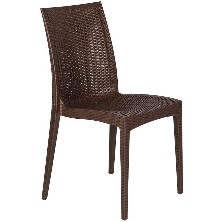 LeisureMod Weave Mace Indoor/Outdoor Dining Chair (Armless), Brown
