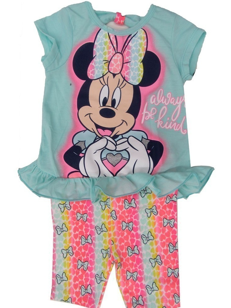 """Disney Little Girls Blue Minnie """"Always Be Kind"""" Print 2 Pc Shorts Outfit"""