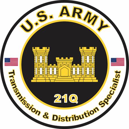 3.8 Inch U.S. Army MOS 21Q Transmission and Distribution Specialist