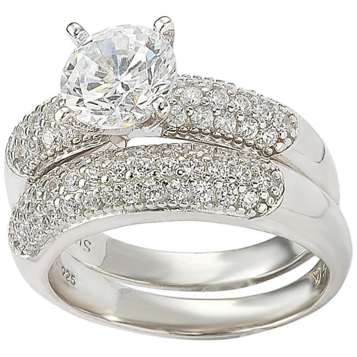 Suzy Levian  Bridal Sterling Silver Cubic Zirconia Engagement Ring and Band Set