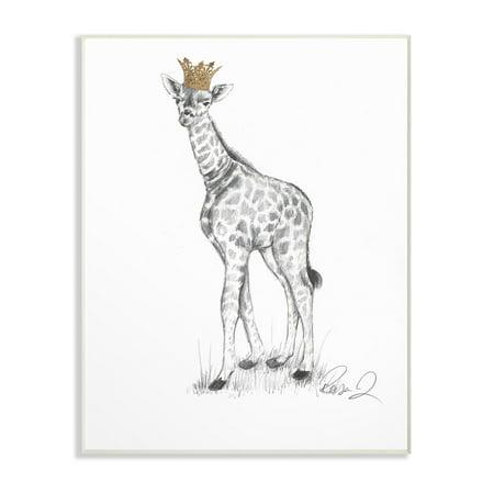 The Stupell Home Decor Collection Giraffe Royalty Graphite Drawing Wall Plaque Art, 10 x 0.5 x - Giraffe Home Decor