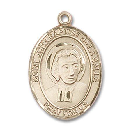 14kt Yellow Gold St. John Baptist de La Salle Medal 3/4 x 1/2 inches (Baptist Medal)