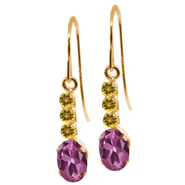 1.21 Ct Oval Pink Tourmaline Yellow Simulated Citrine 10K Yellow Gold Earrings by