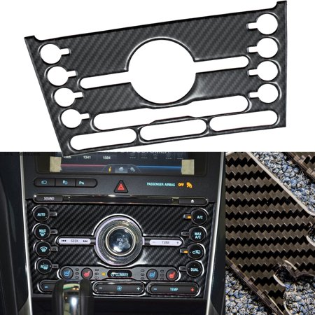 (Xotic Tech Real Carbon Fiber Multimedia Center Control Panel Trim Sticker For Ford Explorer 2016 2017)