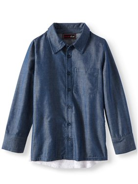 36dbf1d6a Product Image Chambray Long Sleeve Shirt with Lace Back (Little Girls   Big  Girls)