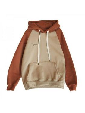 MarinaVida Women Plus Velvet Pullover Color Stitching Long Sleeve Casual Hoodie