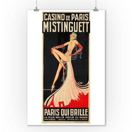 Casino de Paris - Mistinguett - Paris Qui Brille Vintage Poster (artist: Zig) France c. 1931 (9x12 Art Print, Wall Decor Travel Poster) (Schwarze Vintage Brille)