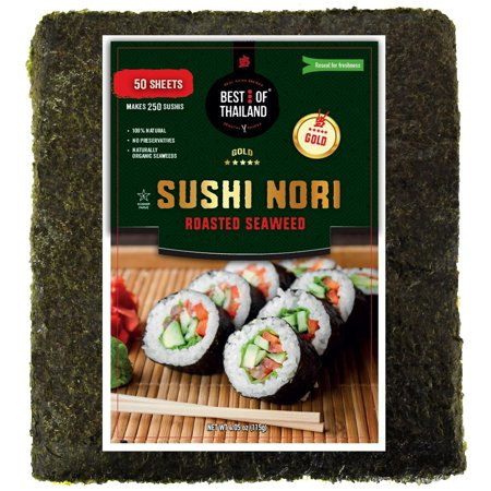 Organic Sushi Nori Seaweed Sheets | Premium Roasted Seaweed | 50 Sheets for Sushi Making | 100% Natural Preservative-free Kosher Certified | Dried Sushi-Grade Korean | By Best of