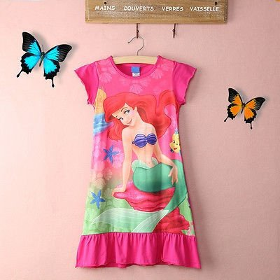 Hot New Little Mermaid Ariel Short Mini Dress Princess Girl Kids Pyjama Night Dress Gift