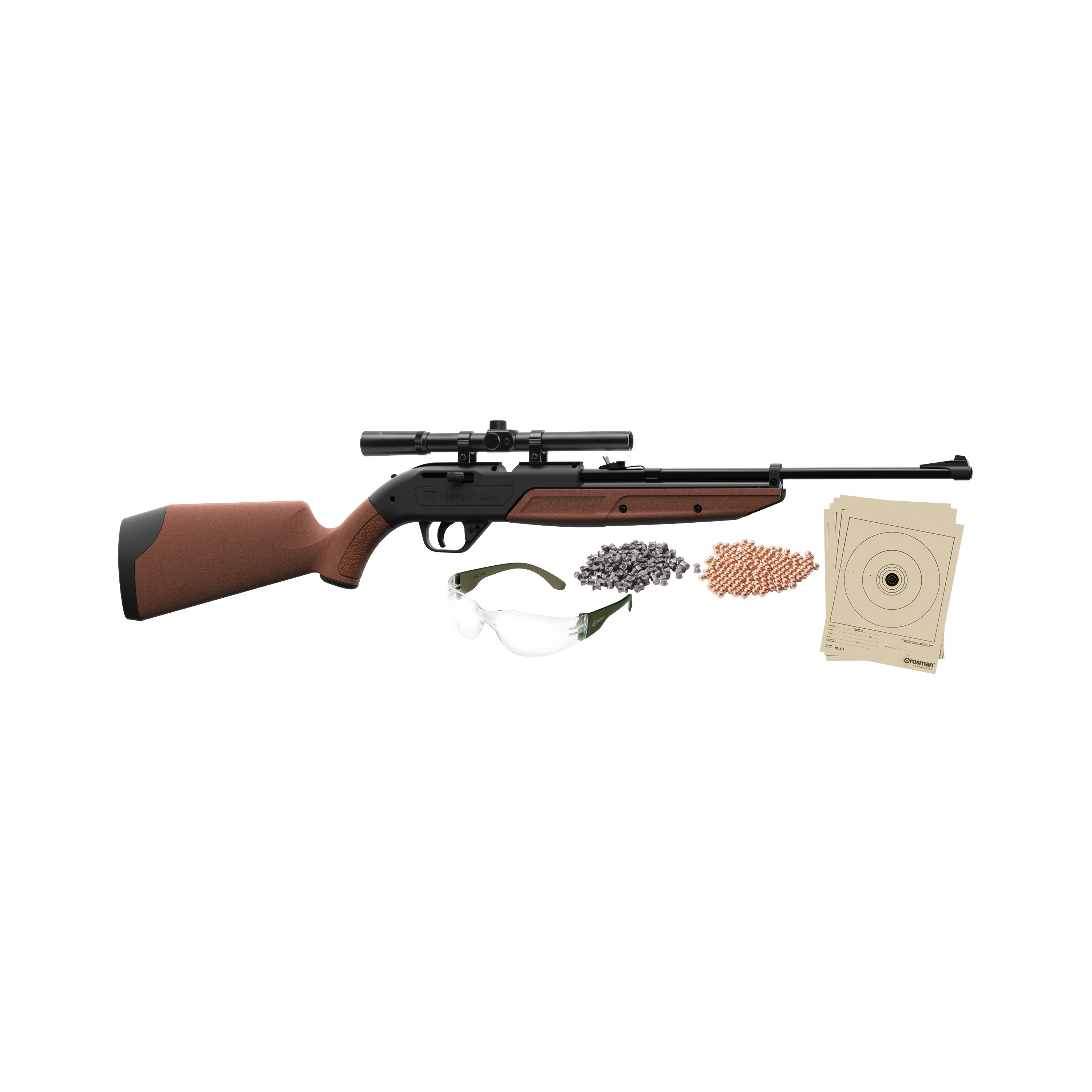 Crosman 760 Pumpmaster .177 Caliber Air Rifle with Scope, Ammo, glasses and targets, 760BKT