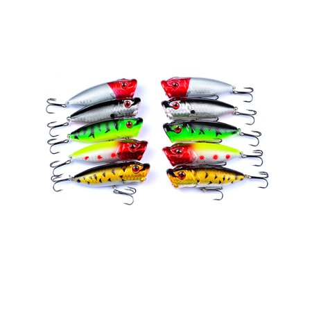 10PCS Topwater Popper Fishing Baits And Lures Freshwater Bass Bait Minnow Crankbaits With Hooks Tackle 7.3cm 12g 10PCS thumbnail