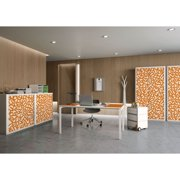 """Paperflow easyOffice Storage Cabinet, 41"""" Tall with Two Shelves, Orange Alphabet"""