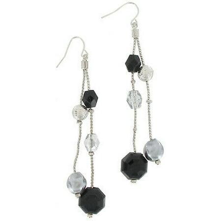 Long Gunmetal Black Faux Pearl Beaded Dangle Pierced Earrings 3 1/4