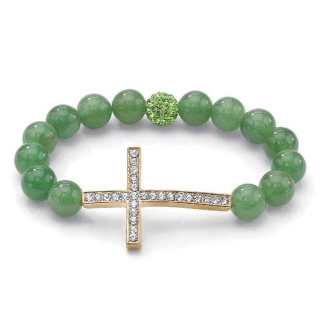 PalmBeach Jewelry 51725 Round Green Genuine Jade Crystal Accent Goldtone Metal Horizontal Cross Stretch Bracelet 8''