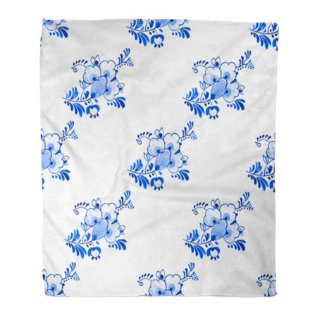 Antique Dutch Delft - ASHLEIGH Flannel Throw Blanket Antique Delft Blue Watercolour Traditional Dutch Floral Flowers Soft for Bed Sofa and Couch 58x80 Inches