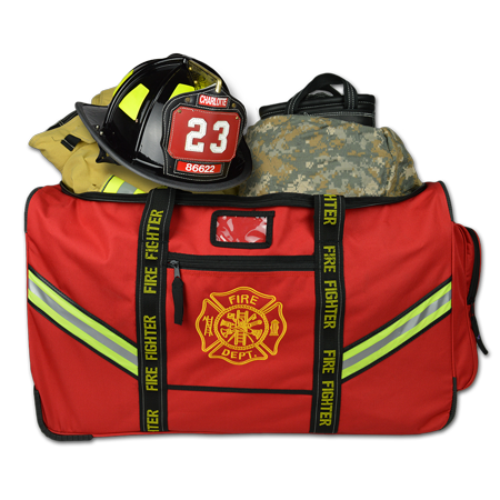 Lightning X Premium Rolling Firefighter Turnout Bunker Gear Bag w/ Wheels, Retractable Handle, Fully Molded