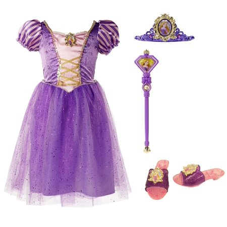 Disney Princess Tangled Rapunzel Dress Up Costume Set (Size 4-6X) - Skeleton Fancy Dress Costume