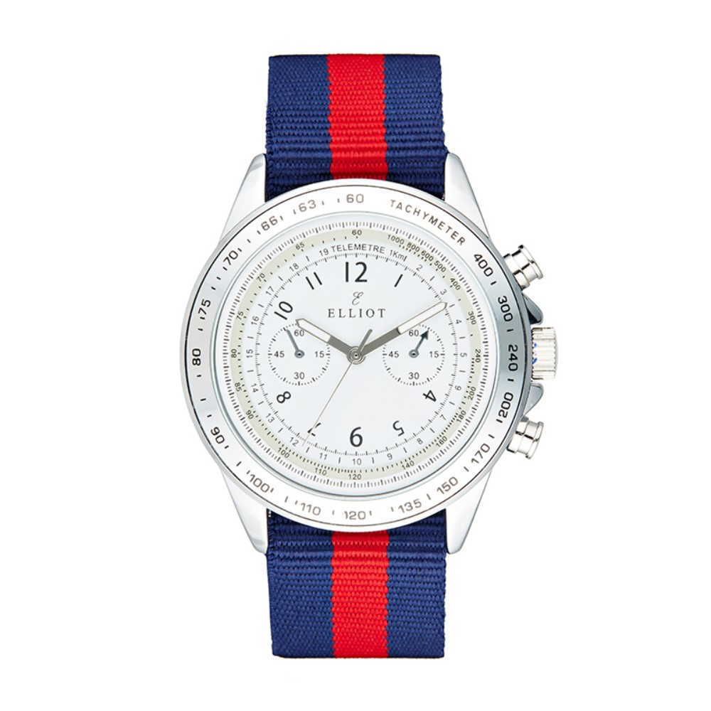 Elliot Red and Navy Striped Nylon Watch with Silver Stainless Steel Case and White Dial