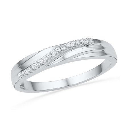 - Size - 7 - Solid 10k White Gold Round White Diamond Channel Set Wedding Band OR Fashion Ring (.06 cttw)